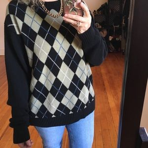 '90s Grandpa Slouchy Oversized Sweater Argyle